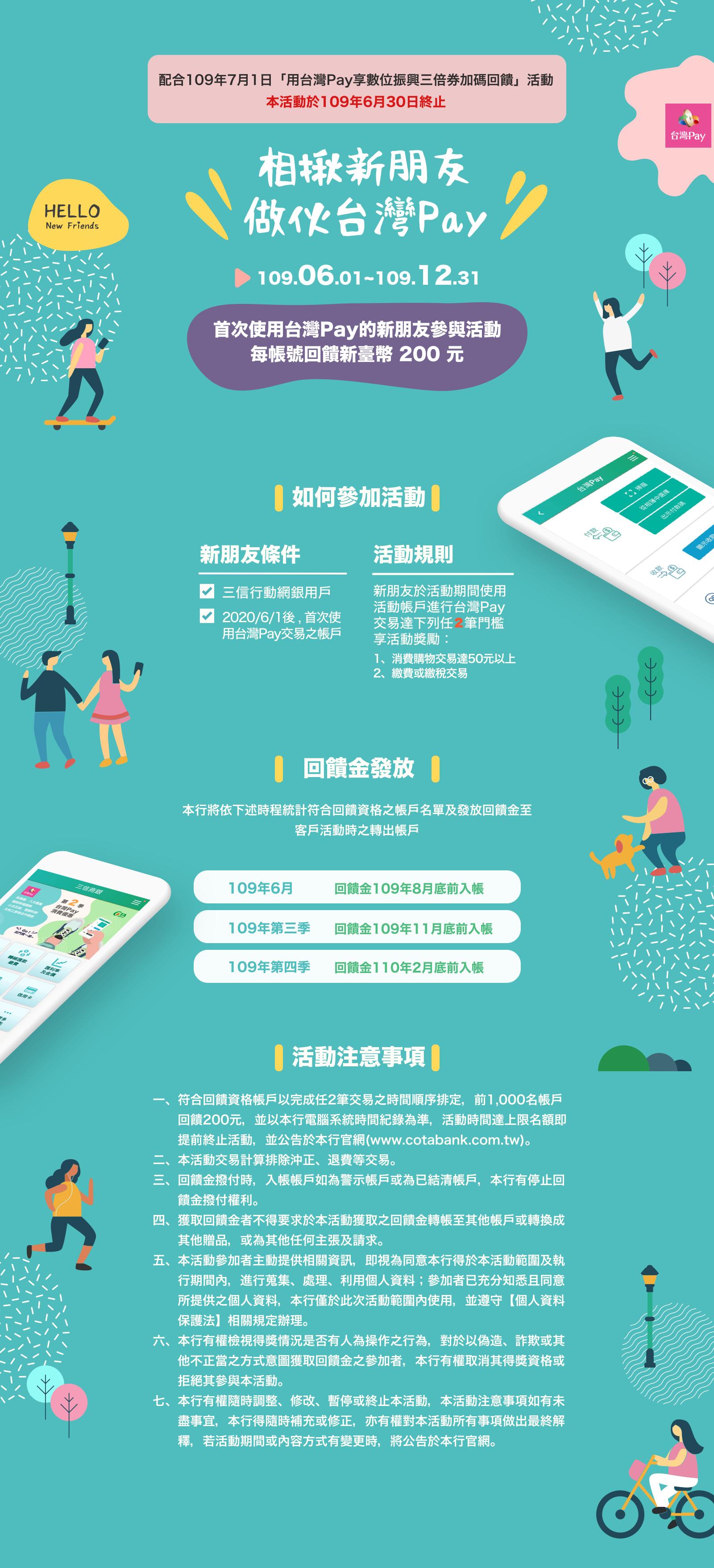 台灣Pay、新戶、相揪新朋友、做伙台灣Pay、200元、消費扣款、繳費、繳稅、109年、獎勵、回饋金、三信商業銀行、三信、行動支付。