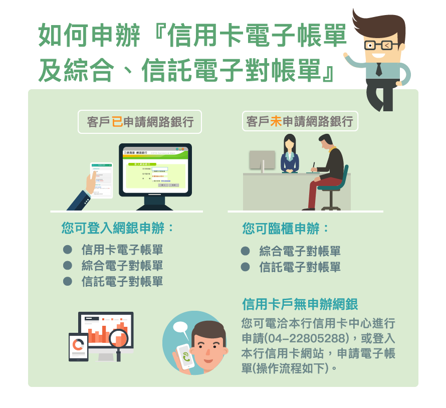 如何申請信用卡電子帳單及綜合、信託電子對帳單